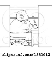 Cartoon Lineart Man Writing In His Office Cubicle
