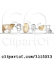Clipart Of A Stick Man Farmer Selling His Product To A Grocer And Consumer Royalty Free Vector Illustration