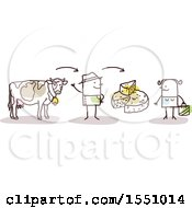 Clipart Of A Stick Man Farmer With A Cow Selling Cheese To A Consumer Royalty Free Vector Illustration