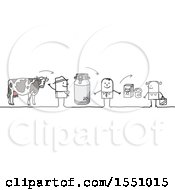 Clipart Of A Stick Man Dairy Farmer Selling Milk To A Grocer And A Consumer Royalty Free Vector Illustration