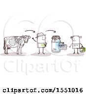 Clipart Of A Stick Man Farmer With A Dairy Cow Selling Milk To A Consumer Royalty Free Vector Illustration