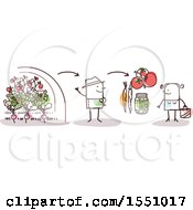 Clipart Of A Stick Man Farmer Selling Produce Direct To A Consumer Royalty Free Vector Illustration