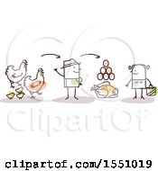 Clipart Of A Stick Man Farmer Selling Chicken Eggs And Poultry To A Consumer Royalty Free Vector Illustration