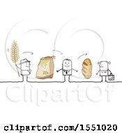 Clipart Of A Stick Man Farmer Selling Bread To A Grocer And Consumer Royalty Free Vector Illustration