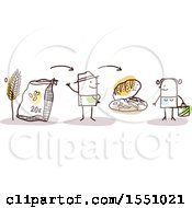 Clipart Of A Stick Man Farmer Selling Bread Direct To A Consumer Royalty Free Vector Illustration