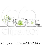 Clipart Of A Stick Man Farmer Selling Apples To Grocer And A Consumer Royalty Free Vector Illustration