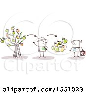 Clipart Of A Stick Man Farmer Selling Apples Direct To A Consumer Royalty Free Vector Illustration by NL shop