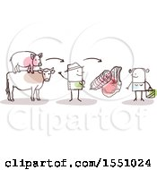 Clipart Of A Stick Man Farmer Selling Pork And Beef Meat To A Consumer Royalty Free Vector Illustration