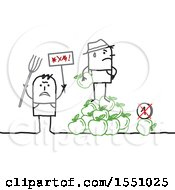 Clipart Of Stick Man Farmers Protesting The Price Of Apples Royalty Free Vector Illustration