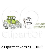 Clipart Of A Stick Man Farmer Facing A Crop Standing By A Tractor Royalty Free Vector Illustration