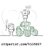 Clipart Of Stick Man Farmers Protesting On And By A Tractor Royalty Free Vector Illustration
