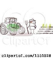 Poster, Art Print Of Stick Man Farmer Facing A Crop Standing By A Tractor