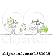 Clipart Of A Stick Man Farmer Seeing The Decline In Price For His Apples Royalty Free Vector Illustration