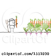 Clipart Of A Stick Man Farmer Harvesting Radishes And Carrots Royalty Free Vector Illustration