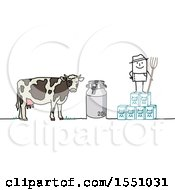 Stick Man Farmer With A Cow Milk Jug And Cartons