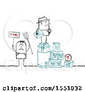 Clipart Of Stick Man Farmers Protesting The Low Cost Of Milk Royalty Free Vector Illustration