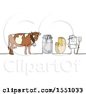 Clipart Of A Stick Man Farmer With A Dairy Cow Milk Container And Cheese Royalty Free Vector Illustration