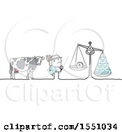 Clipart Of A Stick Man Dairy Farmer With A Cow And Low Cost Milk Production Royalty Free Vector Illustration