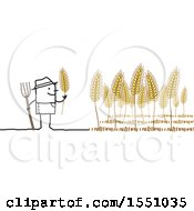 Clipart Of A Stick Man Farmer Tending To Wheat Royalty Free Vector Illustration