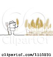 Poster, Art Print Of Stick Man Farmer Tending To Wheat
