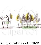 Clipart Of A Stick Man Farmer In A Wheat Field Royalty Free Vector Illustration