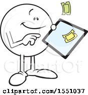 Clipart Of A Moodie Character Ordering Tickets On A Tablet Royalty Free Vector Illustration