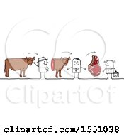 Clipart Of A Stick Man Farmer Selling Beef To A Grocer And Steak To A Consumer Royalty Free Vector Illustration