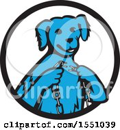 Retro Blue Dog Sitting With A Broken Chain In Hands Inside A Black And White Circle