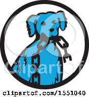 Clipart Of A Retro Blue Dog Sitting With A Broken Chain In His Mouth Inside A Black And White Circle Royalty Free Vector Illustration