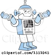 Clipart Of A Robot Shrubbing Its Shoulders Royalty Free Vector Illustration