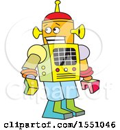 Clipart Of A Colorful Robot Royalty Free Vector Illustration by Johnny Sajem
