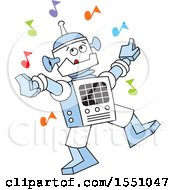 Clipart Of A Robot Dancing With Colorful Music Notes Royalty Free Vector Illustration