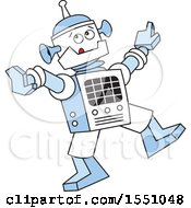 Clipart Of A Robot Dancing Royalty Free Vector Illustration