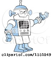 Clipart Of A Robot Presenting Royalty Free Vector Illustration