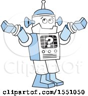 Clipart Of A Robot With A Question Mark Shrugging Its Shoulders Royalty Free Vector Illustration