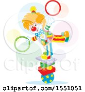 Clipart Of A Clown Balancing And Juggling Rings Royalty Free Vector Illustration