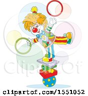 Clipart Of A Cute Circus Clown Balancing And Juggling Rings Royalty Free Vector Illustration by Alex Bannykh