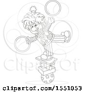 Lineart Circus Clown Balancing And Juggling Rings