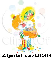 Clown Holding A Phonograph And Playing Music
