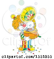 Clipart Of A Cute Clown Holding A Phonograph And Playing Music Royalty Free Vector Illustration