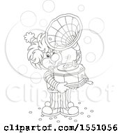 Lineart Clown Holding A Phonograph And Playing Music