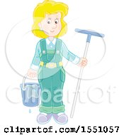 Clipart Of A Happy Blond Caucasian Window Washer Woman Holding A Bucket And Squilgee Royalty Free Vector Illustration