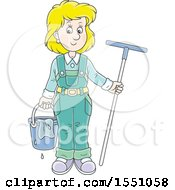 Happy Blond White Window Washer Woman Holding A Bucket And Squilgee