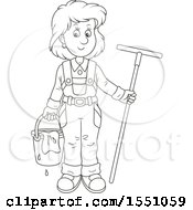 Clipart Of A Lineart Window Washer Woman Holding A Bucket And Squilgee Royalty Free Vector Illustration