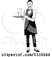 Clipart Of A Grayscale Waitress Holding A Tray With Champagne Royalty Free Vector Illustration