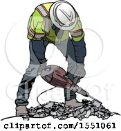 Clipart Of A Worker Operating A Pneumatic Drill Royalty Free Vector Illustration