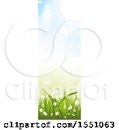 Clipart Of A Spring Time Grass Flower And Sky Banner Royalty Free Vector Illustration
