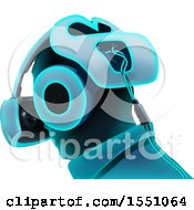 Clipart Of A Blue Toned Man Wearing A Virtual Reality Set Royalty Free Vector Illustration