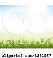 Clipart Of A Spring Time Grass Flower And Sky Background Royalty Free Vector Illustration