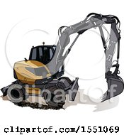 Clipart Of An Excavator Machine Royalty Free Vector Illustration